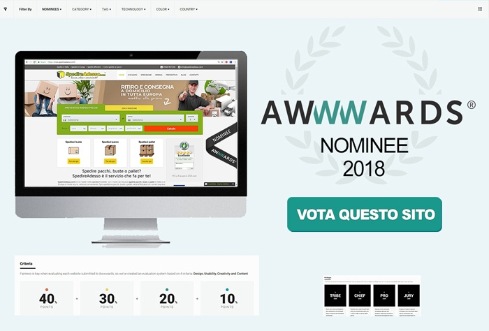 nominee awwwards 2018 spedireadesso l